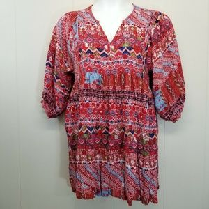 Umgee L Tunic Dress Red Patchwork Boho Festival